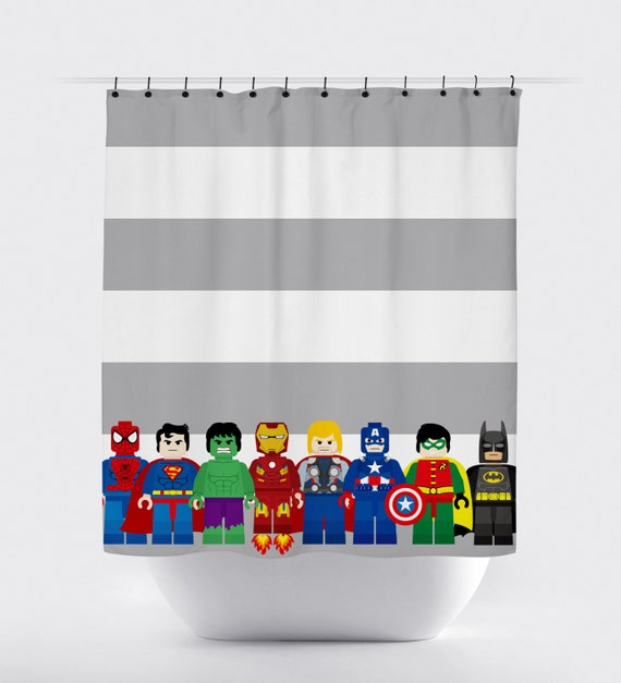 Mini block super hero shower curtains superhero shower for Boys curtain material