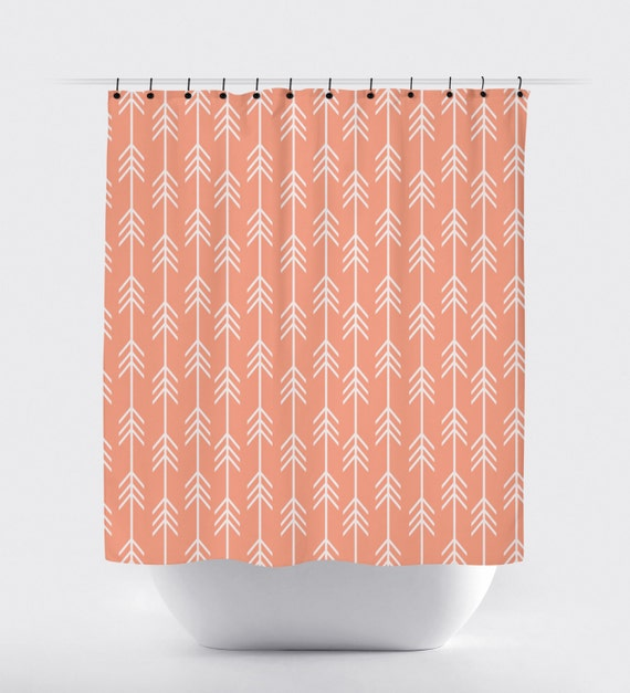 Items Similar To Peach Fabric Shower Curtain High Quality Shower Curtain Shower Curtain Arrow