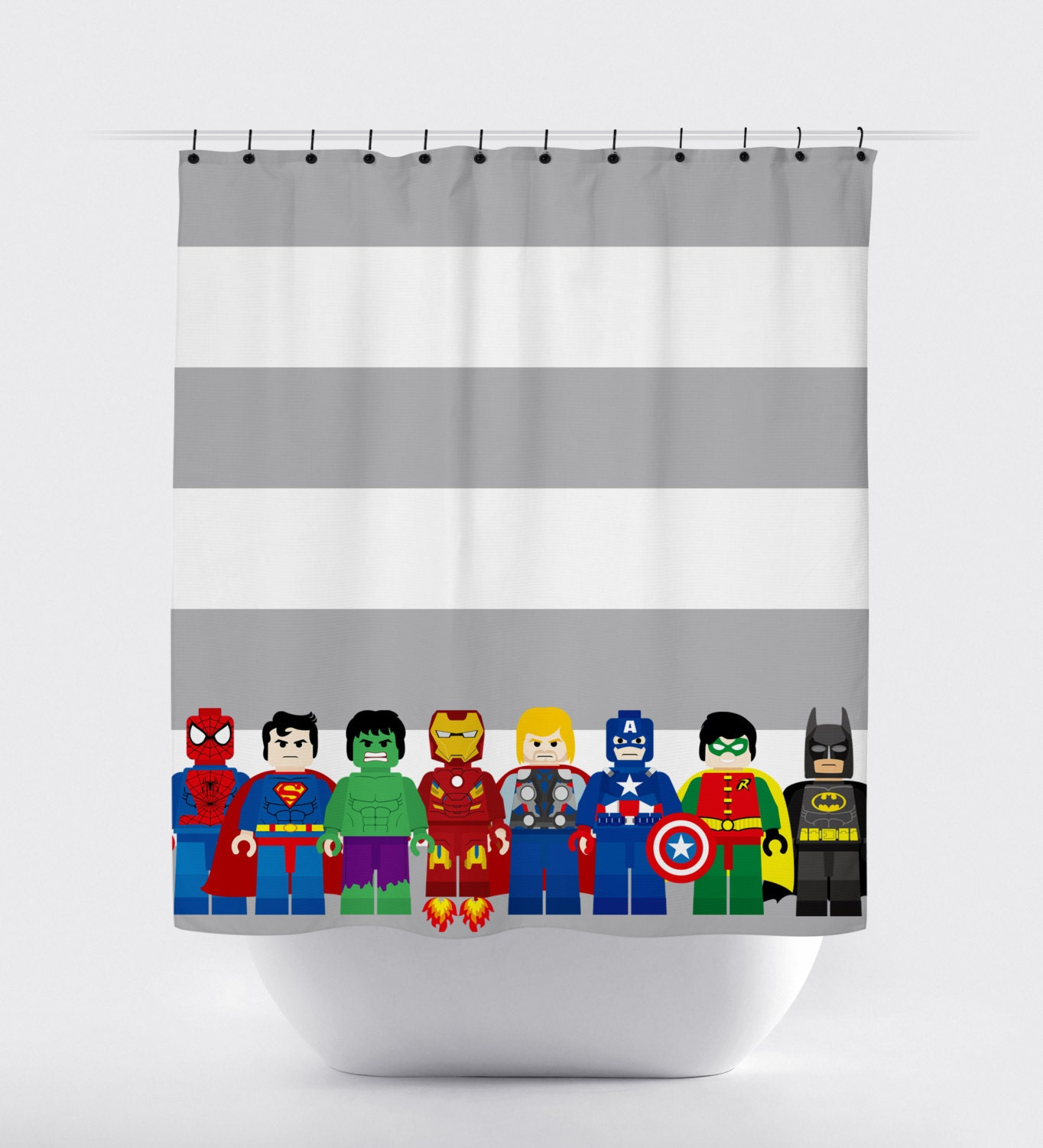 mini block super hero shower curtains superhero shower