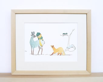 Winter - Baby nursery art - watercolour print - kid and forest animals