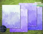 Gift Wrap Birthday Party Decor DIY PRINTABLE Digital Paper Watercolor Watercolour Purple Girl Instant Download Invitation Template Wedding