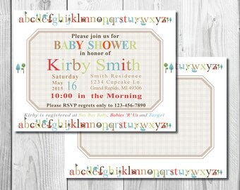 Alphabet Baby Shower Invite