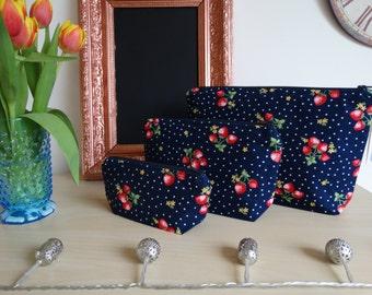 Black Strawberry Printed Make Up Bag. 100% Cotton. Toiletries Bag. Wash Bag. 2 Sizes Available.