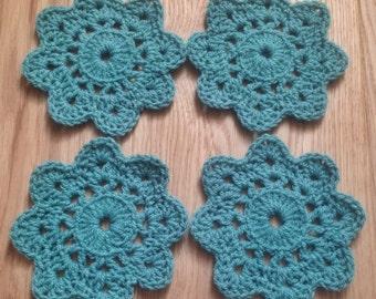 Set of 4 Crochet Flower Coasters