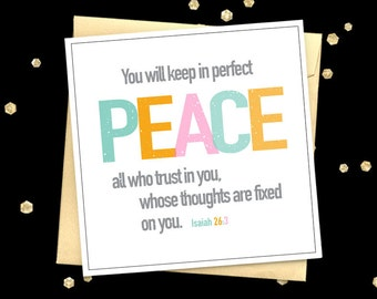 Christian card Isaiah 26:3 quote greeting card Encouragement card