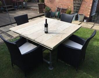 Reclaimed Scaffold board Garden Plank Top Table  1.2mx1.2m (4ft x 4ft)