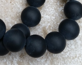 """Onyx Beads - 12mm round Smooth Matte Black Onyx Beads, perfect for your organic look beading projects, FULL 16"""" strand (about 31 beads) G536"""