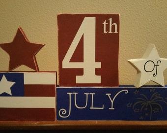 4th of July Wood Blocks