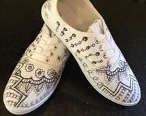 Black & White Zentangle Design Art Sneakers / Original Hand-Painted Shoes