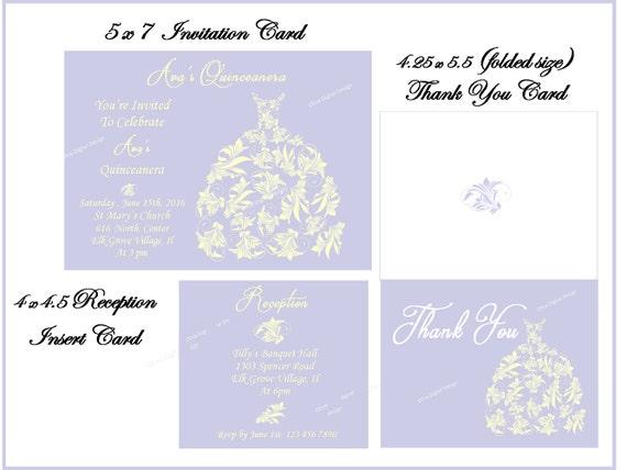 Quinceanera invitation set invitation reception card thank you il570xn stopboris Gallery