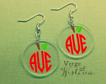 Apple Monogram Earrings- Custom Teacher Gift Teacher Earrings Teacher Jewelry Apple Earring Teaching gift Teaching earring Teaching Monogram