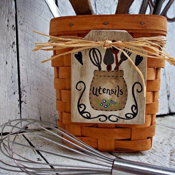 Rustic Kitchen Utensil Holder: Kitchen Utensil Holder Tag Utensil Caddy Label Utensil Crock