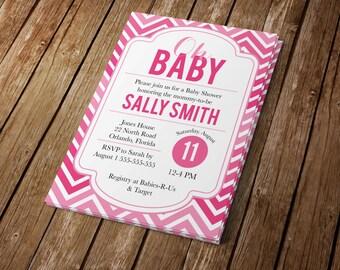 Pink Chevron Baby Shower Invitation