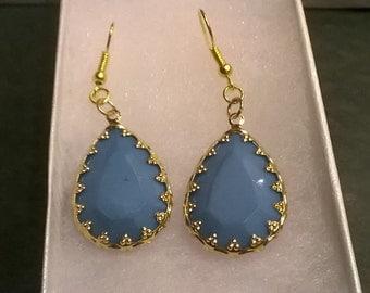 Light blue and gold earrings