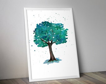 Nature wall decal, Watercolor tree painting, Nature art print
