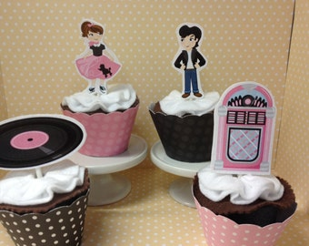 50's Sock Hop Party Cupcake Topper Decorations