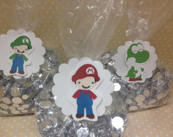 Nintendo Super Mario Brothers Party Candy or Favor Bags with tags - Set of 10