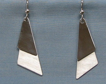 Silver triangles.Triangle silver drop.Brushed Silver.Long sterling drop.Dancing earring.Modern silver drop.Long triangle drop.