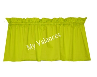 Lime Green Window Curtain Valance. Solid Color Will Brighten Any Room. Kids  Bedroom Bathroom
