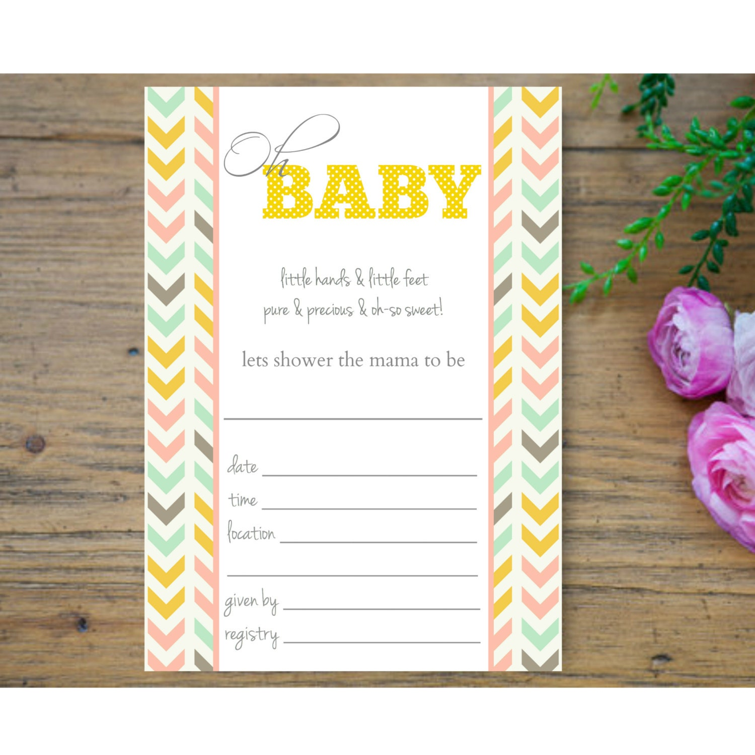fill in the blank modern baby shower invitation by aprintpalette