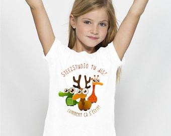 TEE-SHIRT enfant Fille 100% Coton Bio doux équitable Imprimé en numérique Steez Kesako