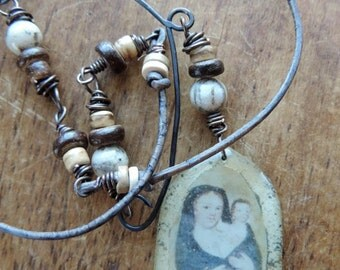 Mother~ Primitive Rustic Necklace, Mother and Child Resin Pendant, Silkworm Jasper, Leather Cord