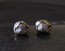 Grey Raw Diamond Earrings, Sterling Silver Earrings, Diamond Studs, Gold Studs, Rough Diamond Earrings