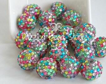 20mm pastel confetti RHINESTONE bling chunky beads
