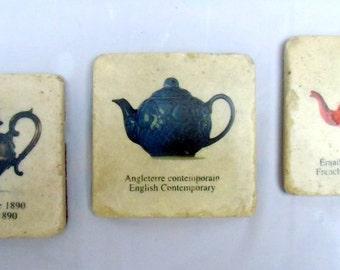 STONE COASTERS set of 3, tea pot, kettle coasters, stone teapot