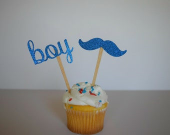 Mustache Cupcake Toppers, Baby Boy Cupcake Toppers, Baby Shower Cupcake Toppers, Blue Baby Shower Cupcake Toppers, Set of 12
