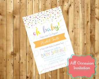 Oh Baby Sprinkle Shower Invite; Printable; Digital File