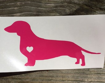 Dachshund Sticker with Heart