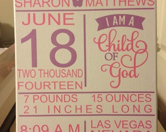 11x14 Custom Birth Announcement Canvas Wall Hanging,Child of God.