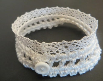 White lace and fine crochet bracelet jewelry