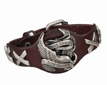 Handmade Brown Leather Eagle Motorcycle Bracelet ~ Harley Davidson Style Pendant ~ Mens Bracelet ~ Adjustable Buckle Closure ~ D86