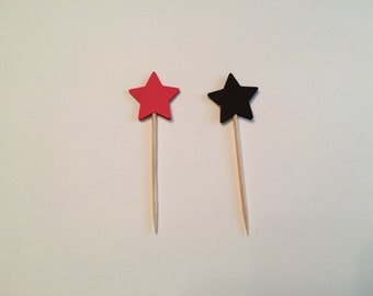24 red and black star toothpicks, baby shower, birthday party, wedding, graduation, retirement, appetizer picks, food picks, cupcake toppers