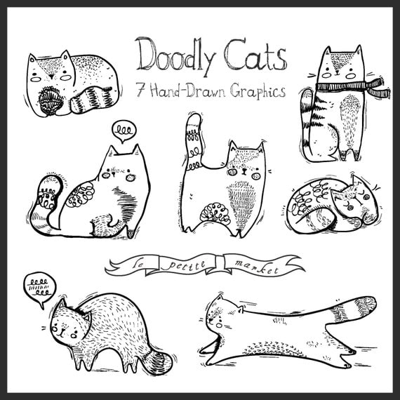 Doodly hand drawn cat illustration clip art instant download for Doodly free