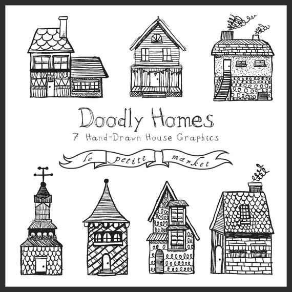 hand drawn buildings clipart cute homes clipart hand drawn houses house illustration digital illustration instant download clipart