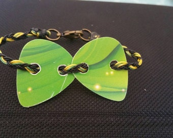 Guitar pick bracelet. Heavenly Green, Concert Wear, Guitar Wear