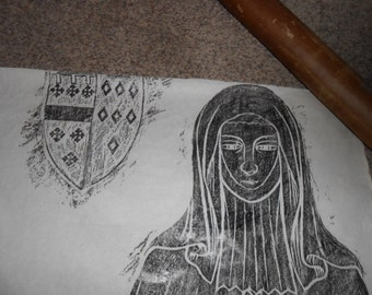 Antique Tombstone rubbing from the 1300 A. D. to 1400 A. D. done in the early 1940's (3)