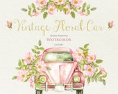 Watercolor Vintage Floral Car with Rustic Roses. Wedding invite, greeting card, DIY clipart, Romantic Bouquets, Hand Painted Retro Auto