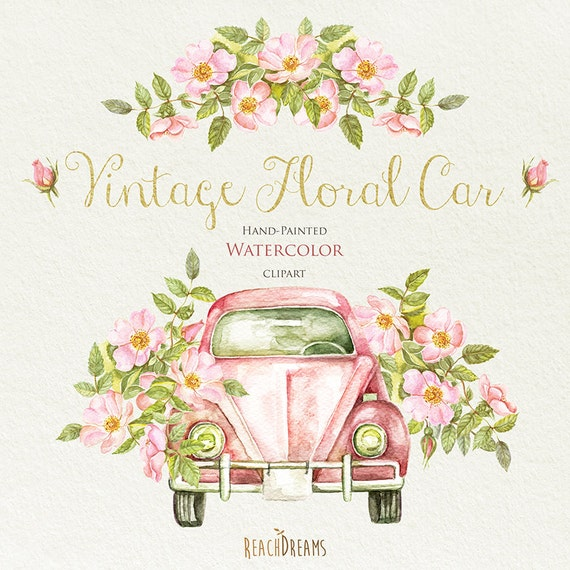 Watercolor Vintage Floral Car With Rustic Roses. Wedding