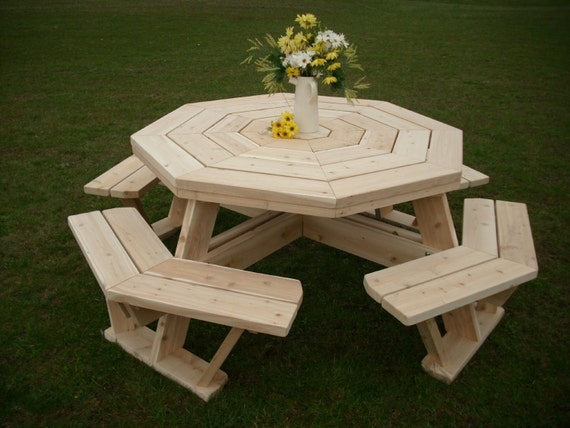 White Cedar Octagon/ Walk In Picnic Table by FurnitureBarnUSA