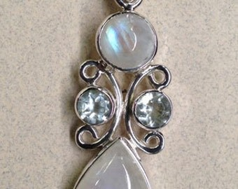 Sterling Silver Rainbow Moonstone and Blue Topaz Pendant PS-71