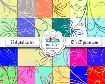 """FLORAL - Digital paper pack – Instant download - Scrapbook Paper – Digital scrapbook - 12"""" x 12"""" - Commercial use –Digital background"""