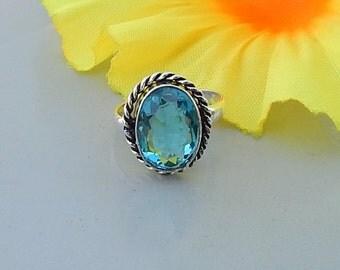 Oval Cut Blue Topaz Quartz Gemstone  925 Sterling silver Ring