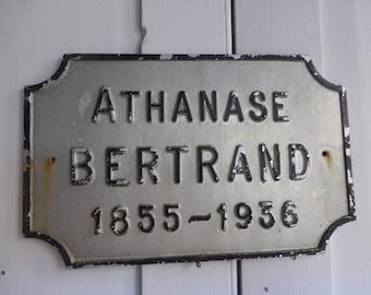 Antique French memorial commemorative metal aluminium plaque Bertrand dated 1936