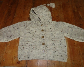 Hand Knit Hooded Toddler Jacket Style Sweater