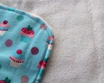 Personalized Burp Cloth- Cupcake Burp Cloth, Flannel and Absorbent Minky Fleece *PREMADE SALE!*
