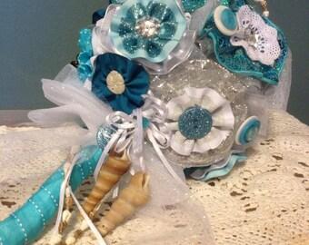 Teal Seashell Beach Wedding Bouquet